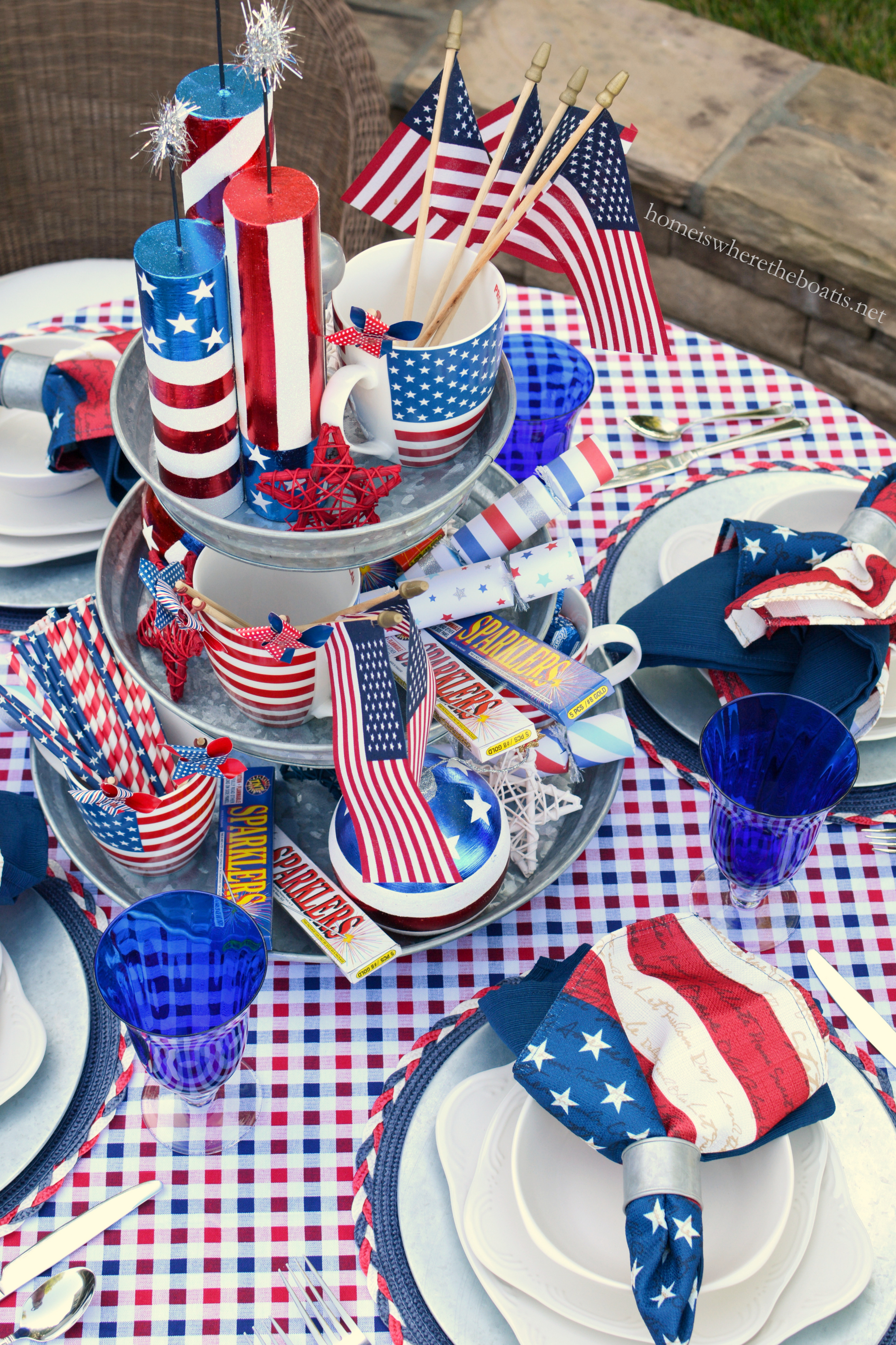 Patriotic Stars Patriotic Firecracker Bundle Ornaments / Pier1  sc 1 st  Home is Where the Boat Is & Celebrate the Red White and Boom Patriotic Table with Pfaltzgraff ...