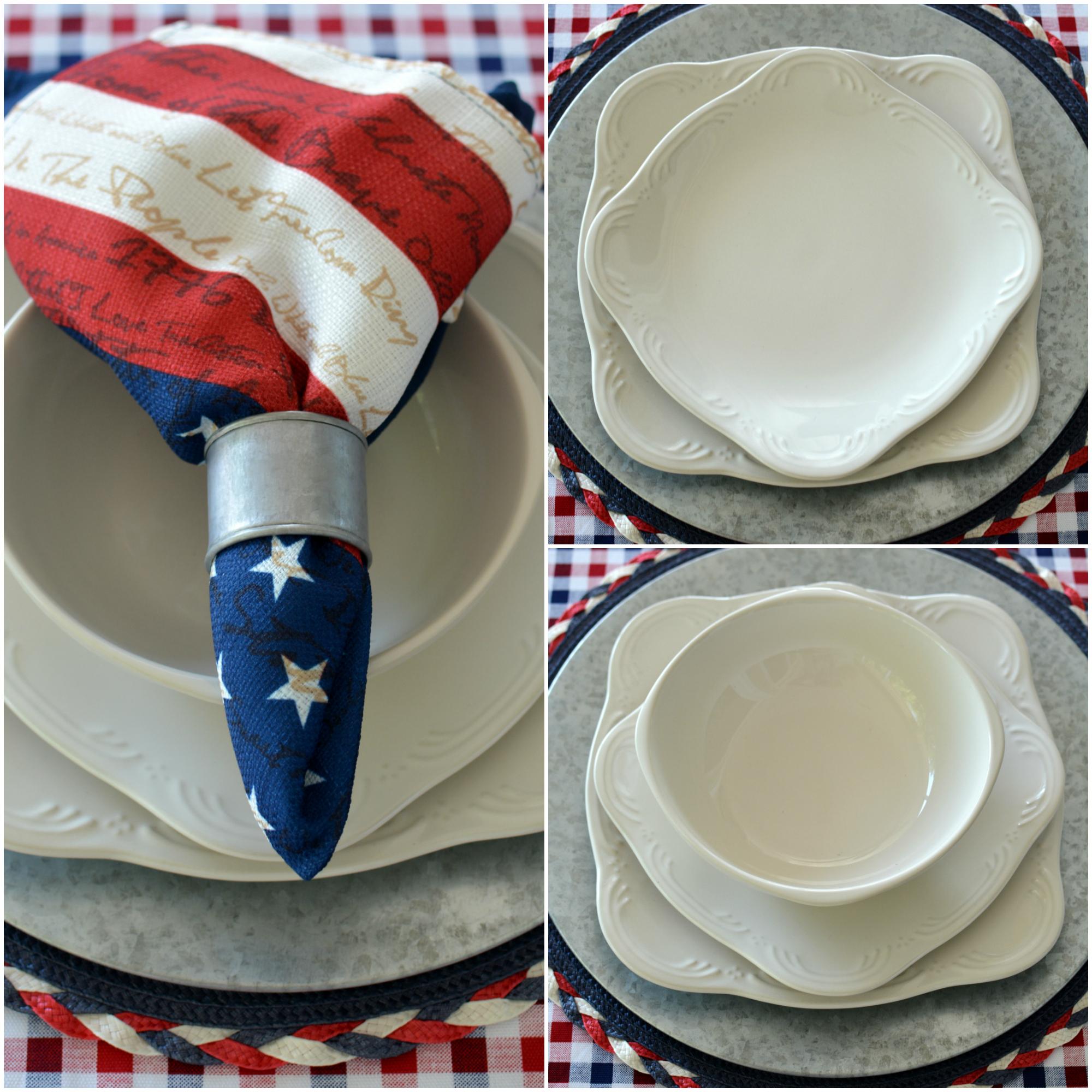 Pfaltzgraff Filligree & Celebrate the Red White and Boom Patriotic Table with Pfaltzgraff ...