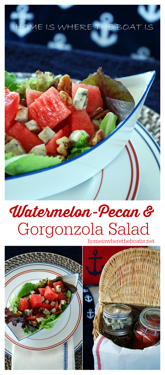 Watermelon, Pecan, and Gorgonzola Salad