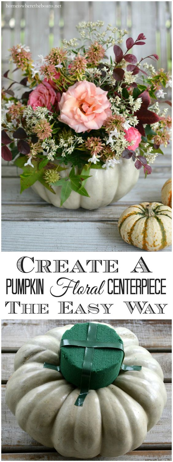 Create a Pumpkin Floral Centerpiece the easy way, no carving required! | ©homeiswheretheboatis.net #pumpkinvase #flowers #fall