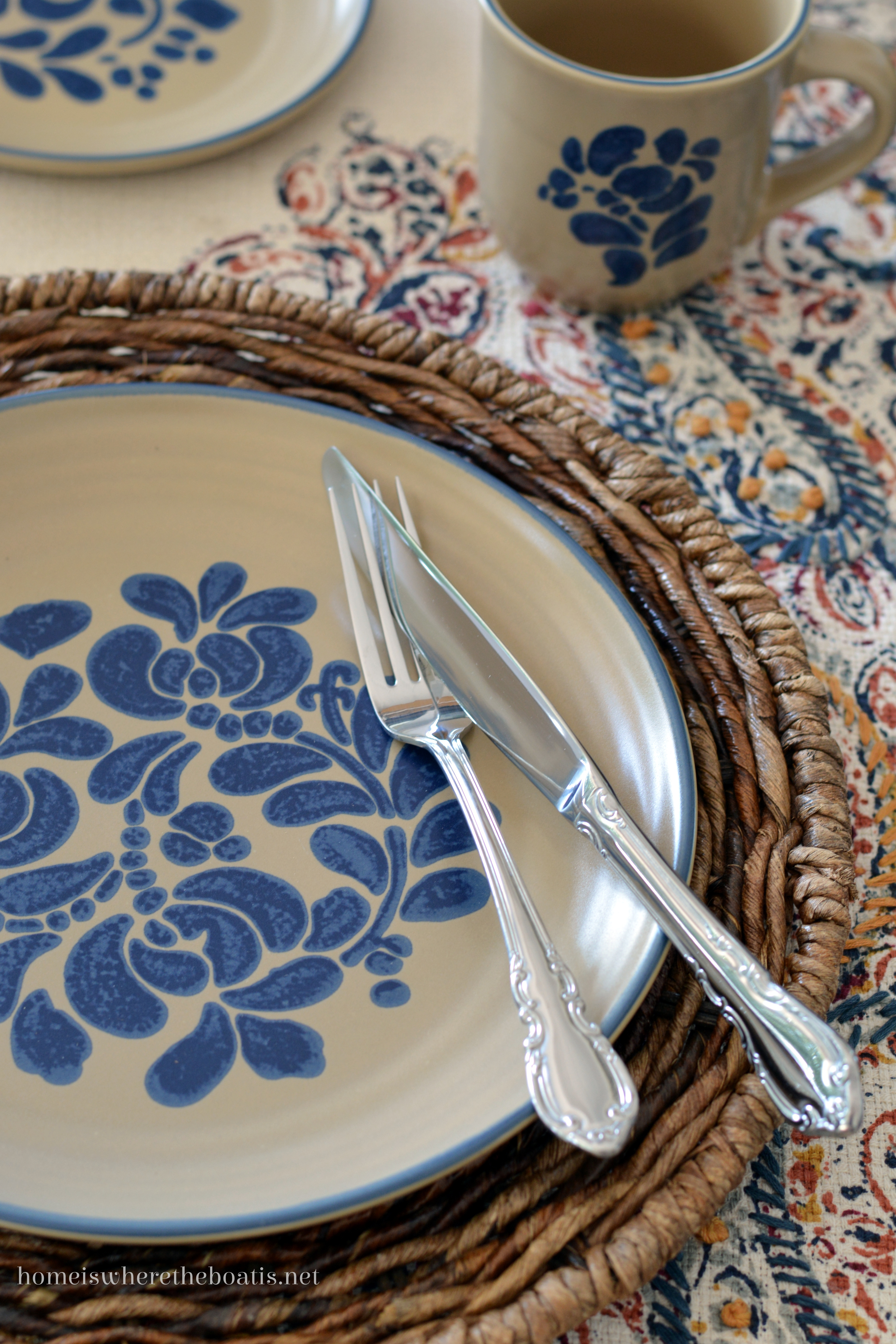 Layered with an embroidered runner with a paisley pattern with shades of gold cranberry and blue and complementary swirl patterns to pair with the floral ... & At the Table: A Fall Transition with Pfaltzgraff Folk Art u2013 Home is ...