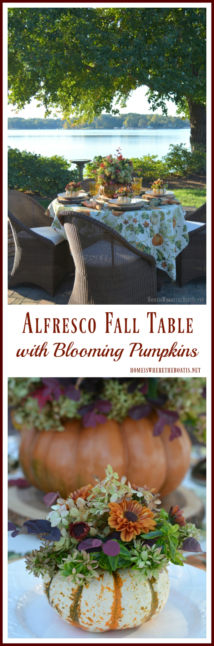 Alfresco Table with Blooming Pumpkins