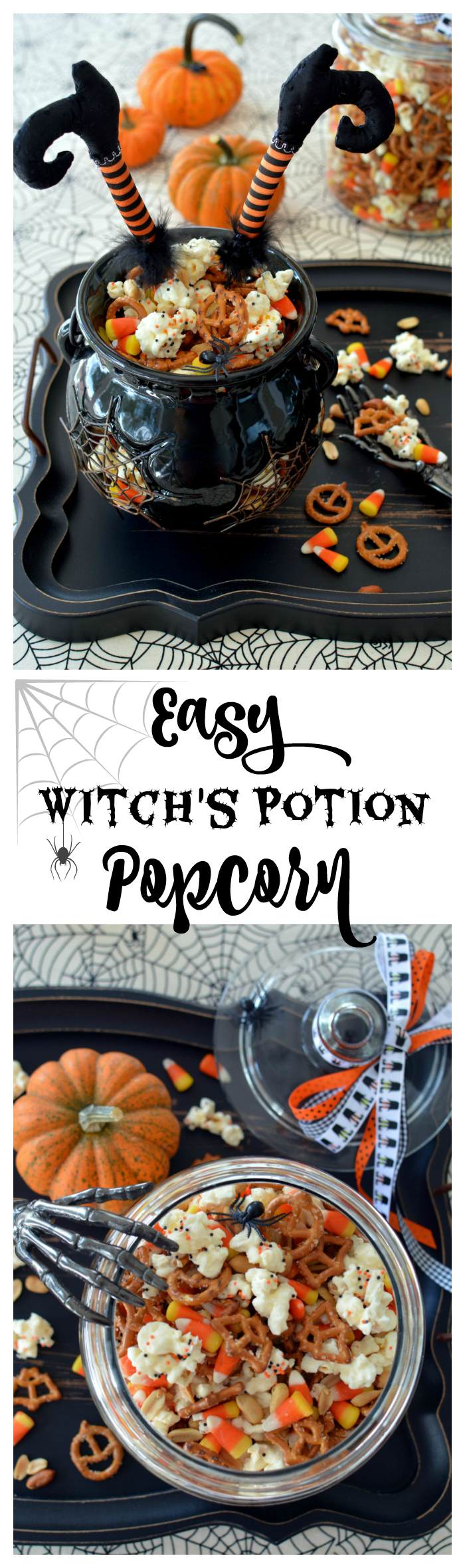 Easy Witch's Potion Popcorn: No Cauldron Required | | ©homeiswheretheboatis.net #Halloween #popcorn