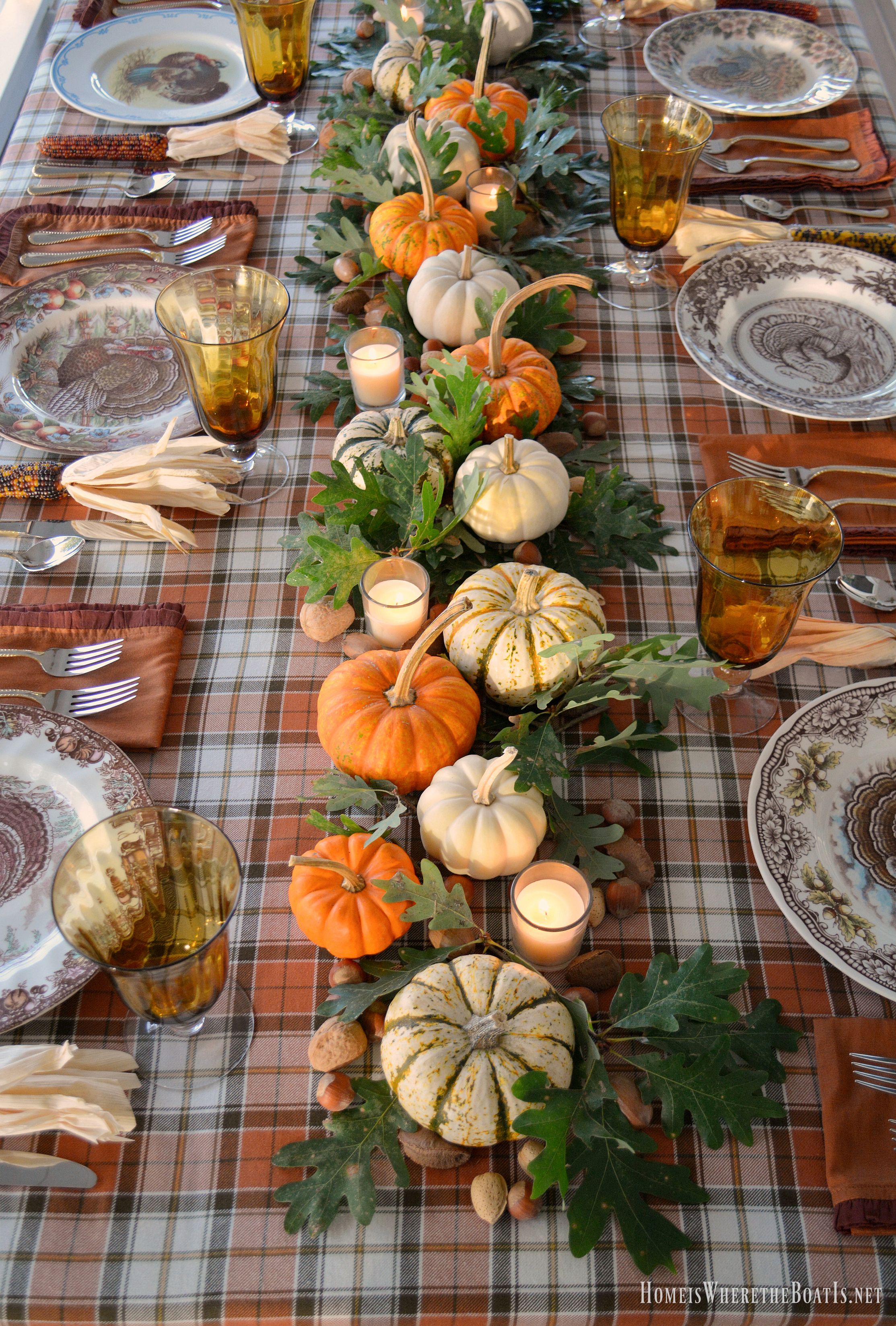 Thanksgiving is just two weeks away and I pulled out the turkey plates in anticipation! & A Thanksgiving Table with Turkey Plates Plaid and Pumpkin-Oak Leaf ...
