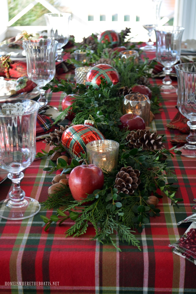 Plaid tidings a christmas table with st nick and a - Christmas table setting ideas ...