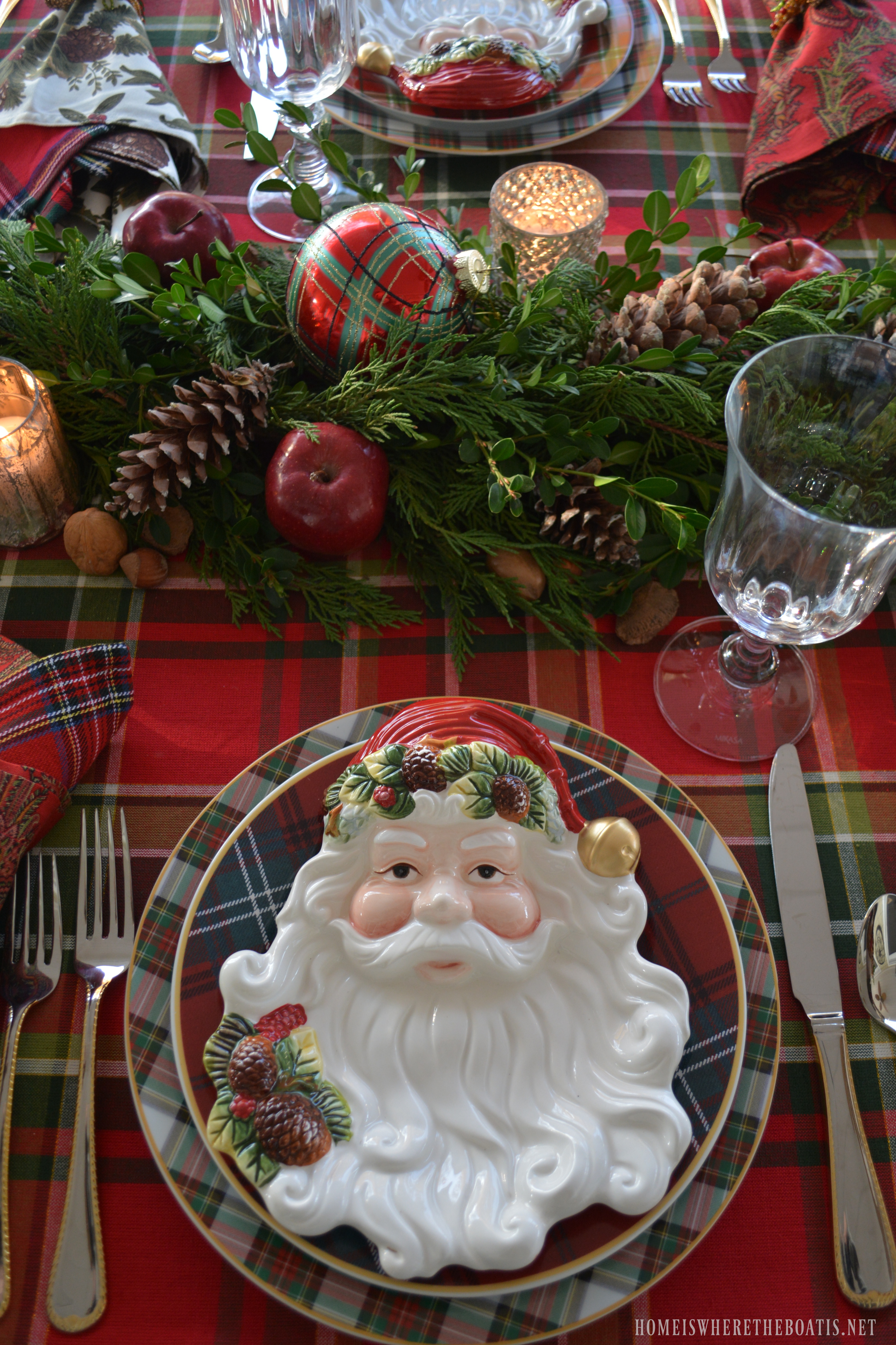 Plaid Tidings: A Christmas Table With St. Nick And A Natural Evergreen Table  Runner