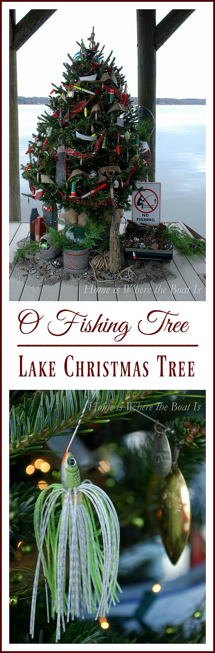 Lake Christmas Tree on dock decorated with fishing lures | homeiswheretheboatis.net