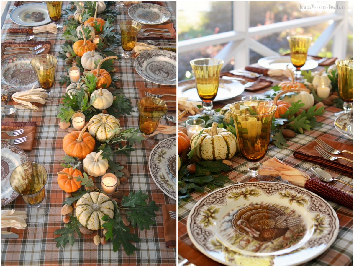 A Thanksgiving Table with Turkey Plates, Plaid and Pumpkin-Oak Leaf Runner