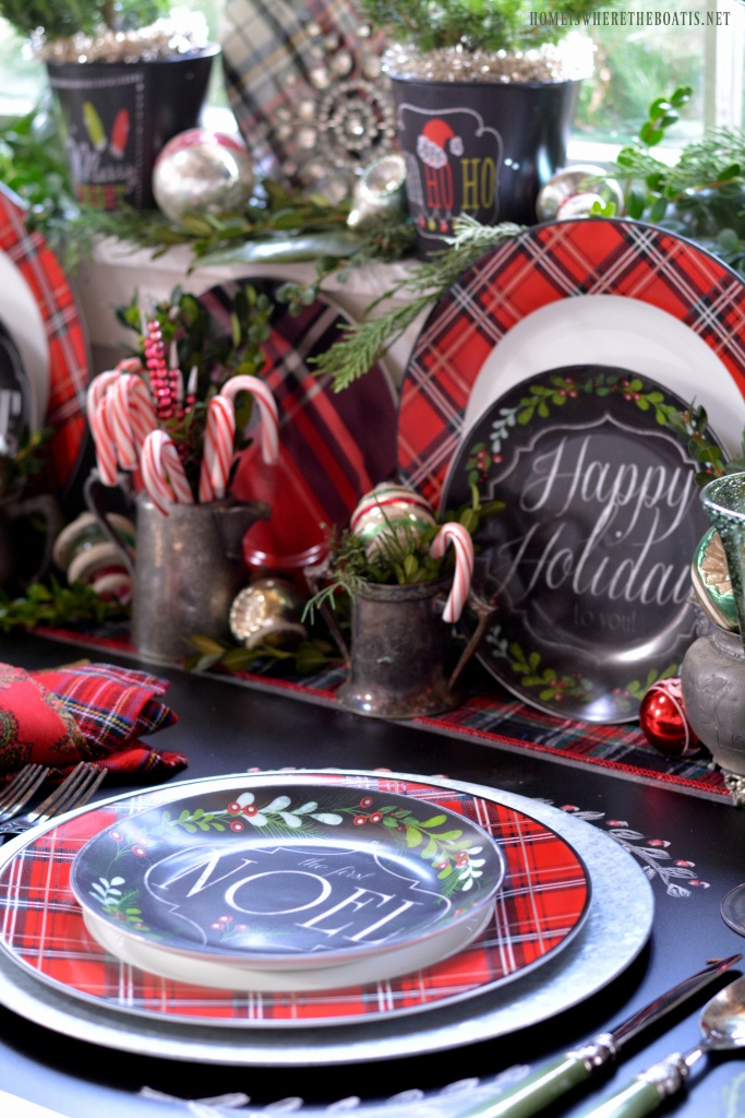 Chalkboard Runner And Plaid Tidings In The Potting Shed