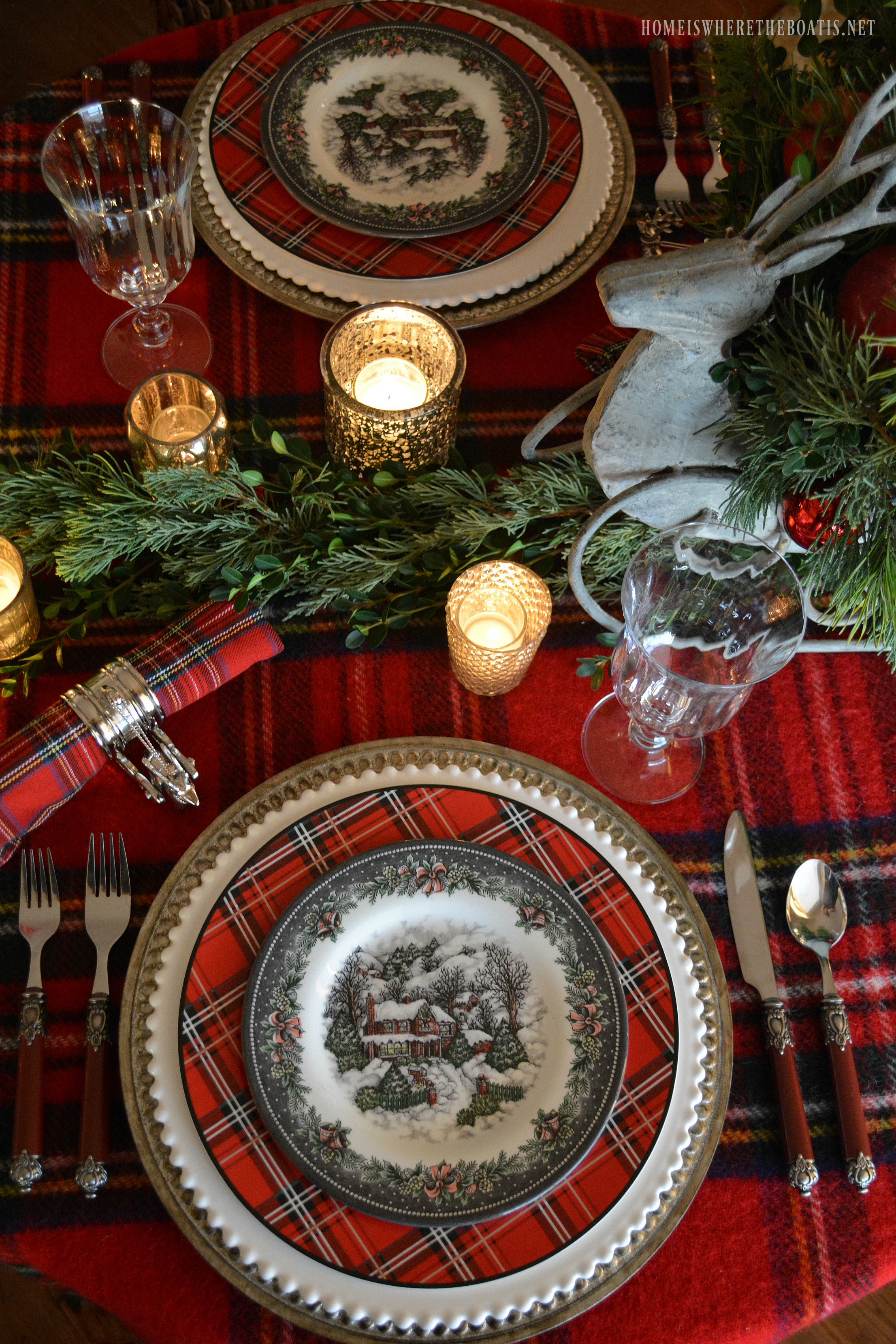 Mercury glass votives add an additional glow to the table . & Reindeer Sleigh Tartan Christmas Table and Centerpiece \u2013 Home is ...