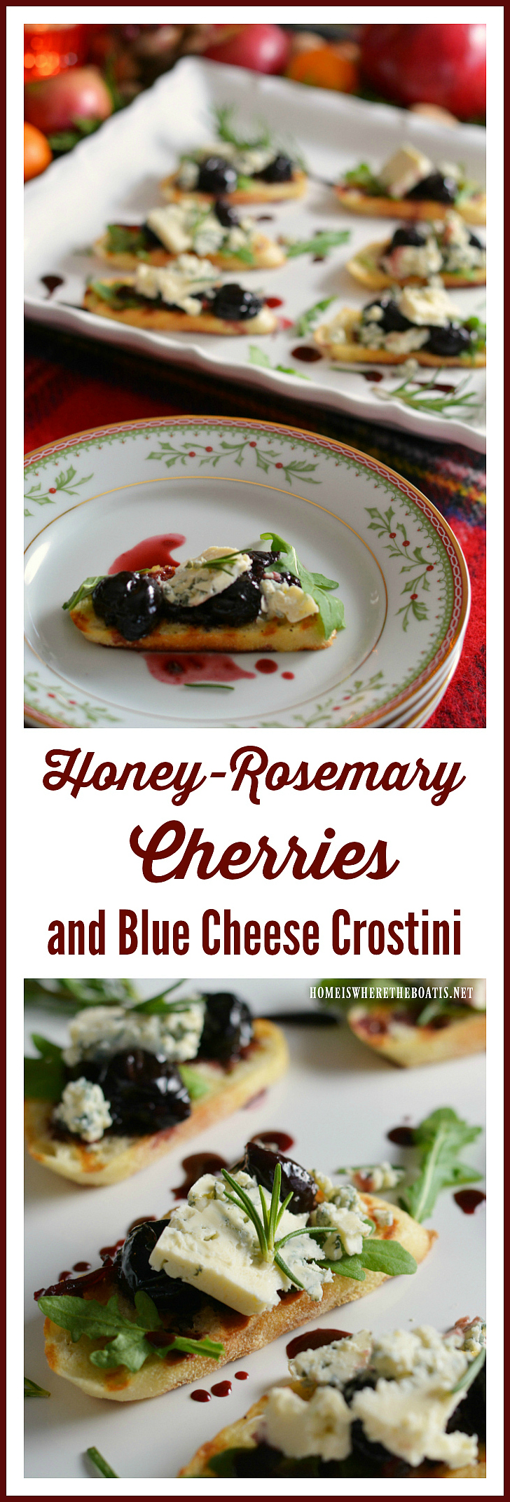 Honey-Rosemary Cherries and Blue Cheese Crostini! | homeiswheretheboatis.net #appetizer #recipes #crostini