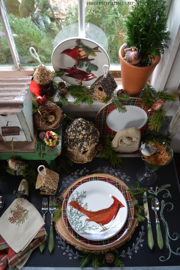 Woodland Table With Birds And Winter Nesting In The