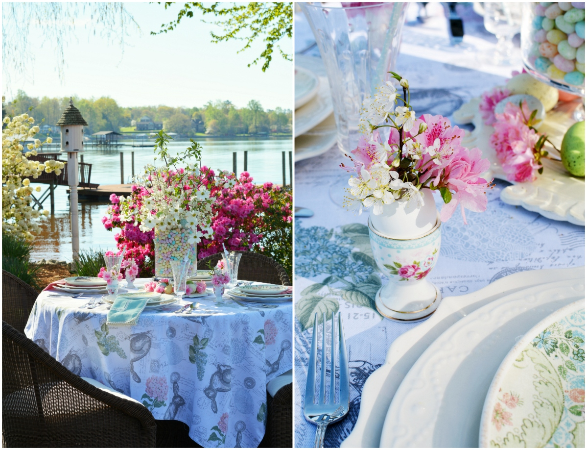 Alfresco Easter Table + Blooming Branch Centerpiece