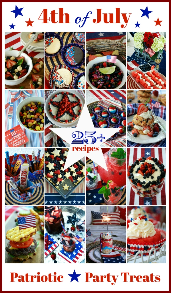 25 July 4th Party and Patriotic Treats for your Star-Spangled Celebration! | homeiswheretheboatis.net #recipes #dessert #appetizer #cocktail