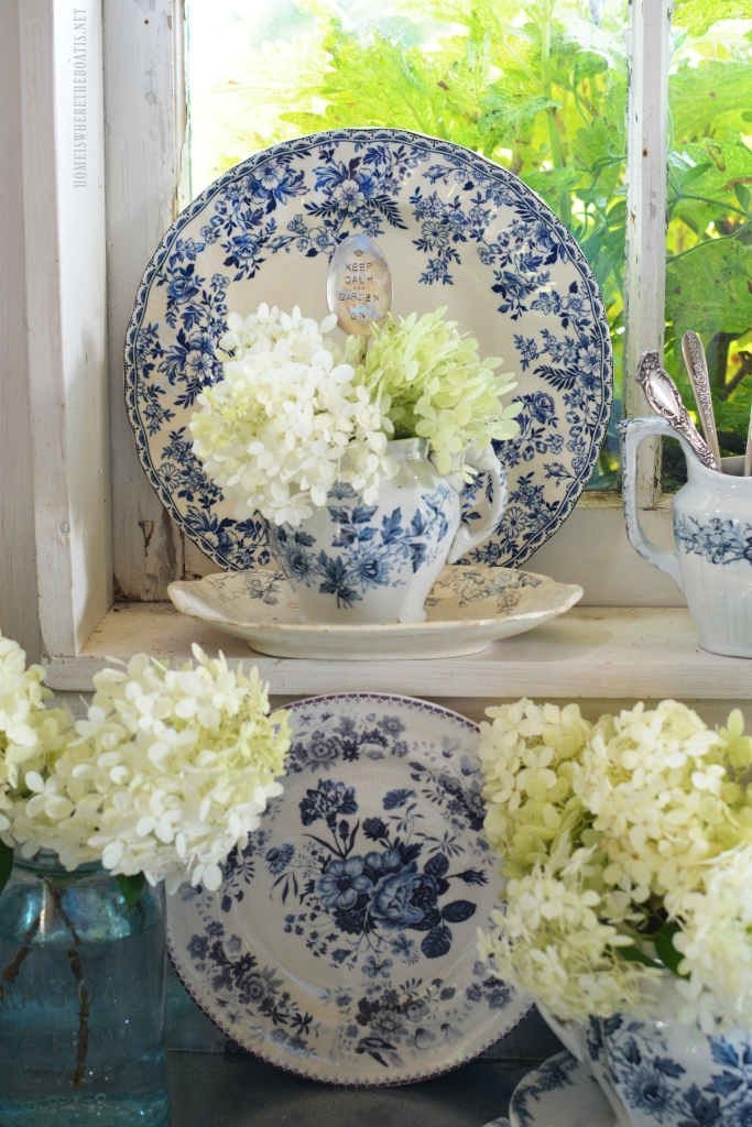 In The Potting Shed Blue White And Limelights Table And