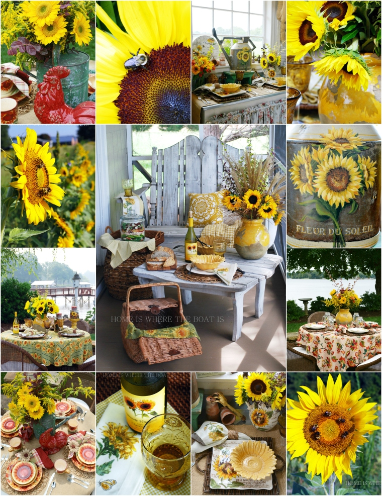 Here comes the Sunflowers | © homeiswheretheboatis.net #garden #summer #tablescape