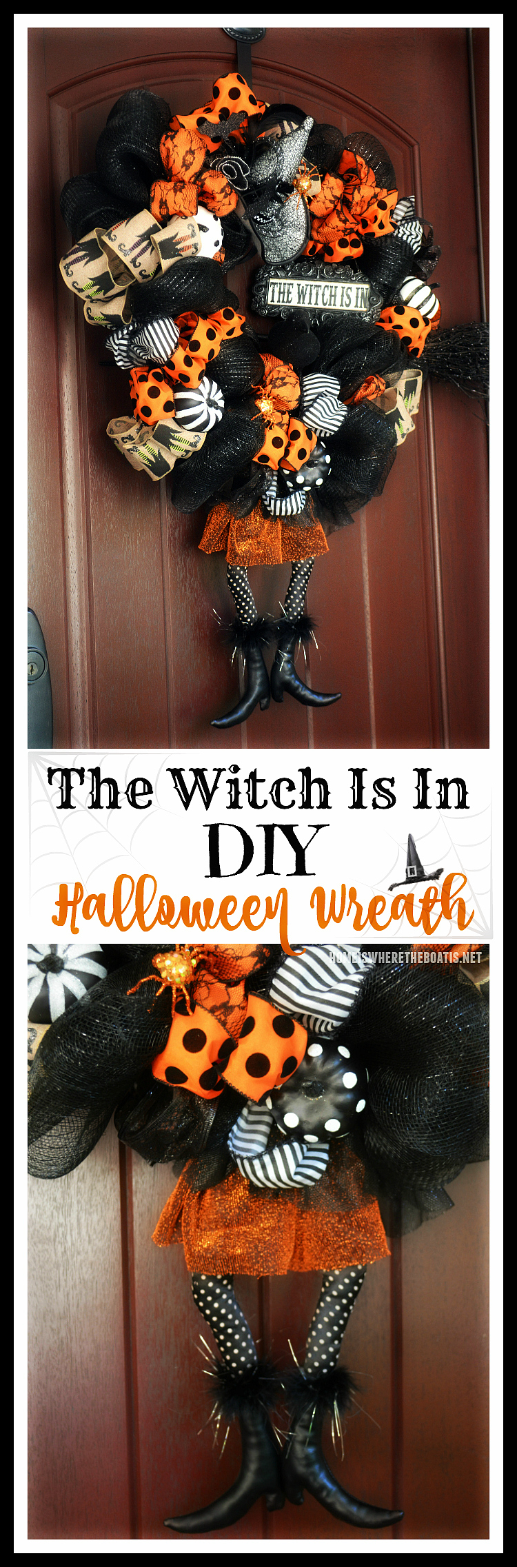 The Witch Is In: DIY Halloween Wreath! Scare Up a wreath for a witchy welcome for Halloween ! | ©homeiswheretheboatis.net #Halloween #wreath