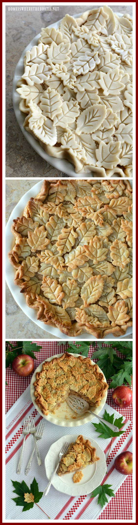 Apple Pie with pie crust leaf embellishments | homeiswheretheboatis.net #fall #desserts #apple #pie