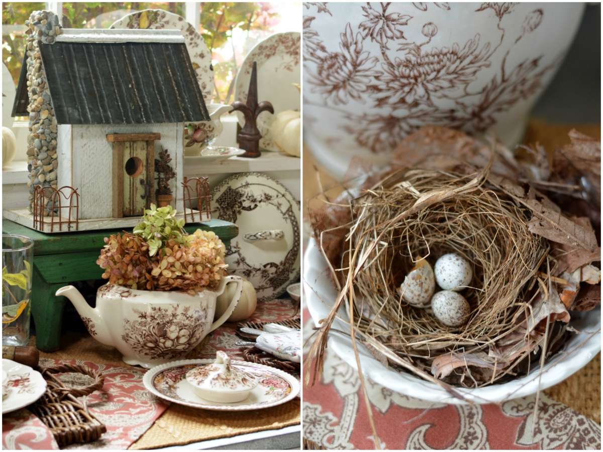 Fall Nesting: Brown Transferware and Hydrangeas in the Potting Shed