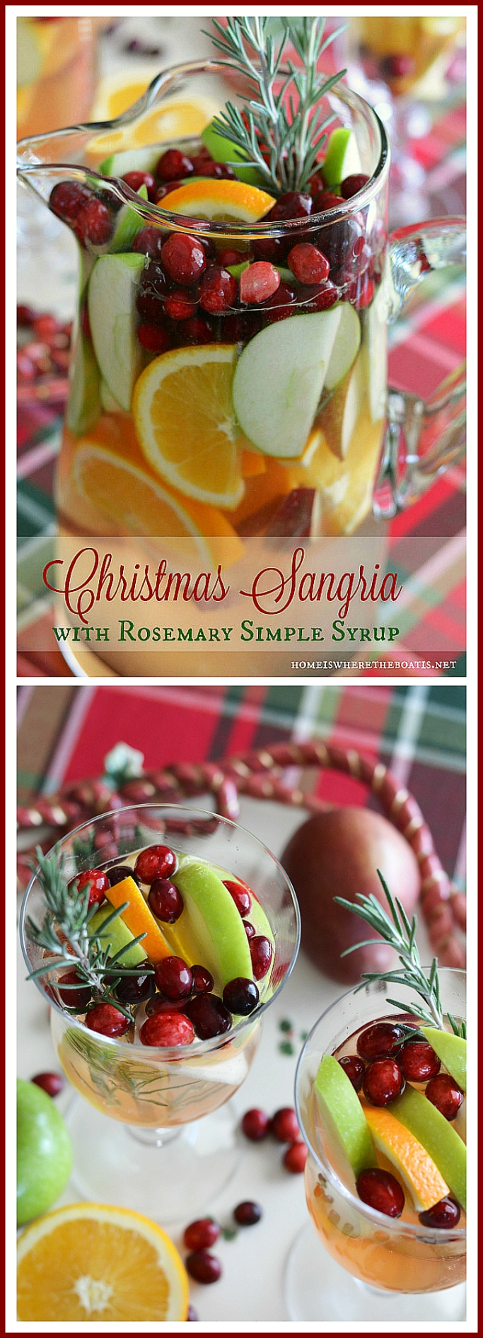 Christmas Sangria with Rosemary Simple Syrup! As easy to mix as it is to drink! | ©homeiswhereboatis.net #cocktail #sangria #christmas