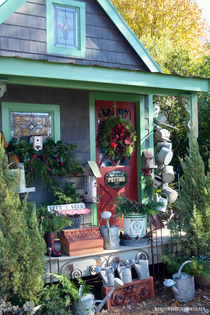 Christmas Greenery Around the Potting Shed