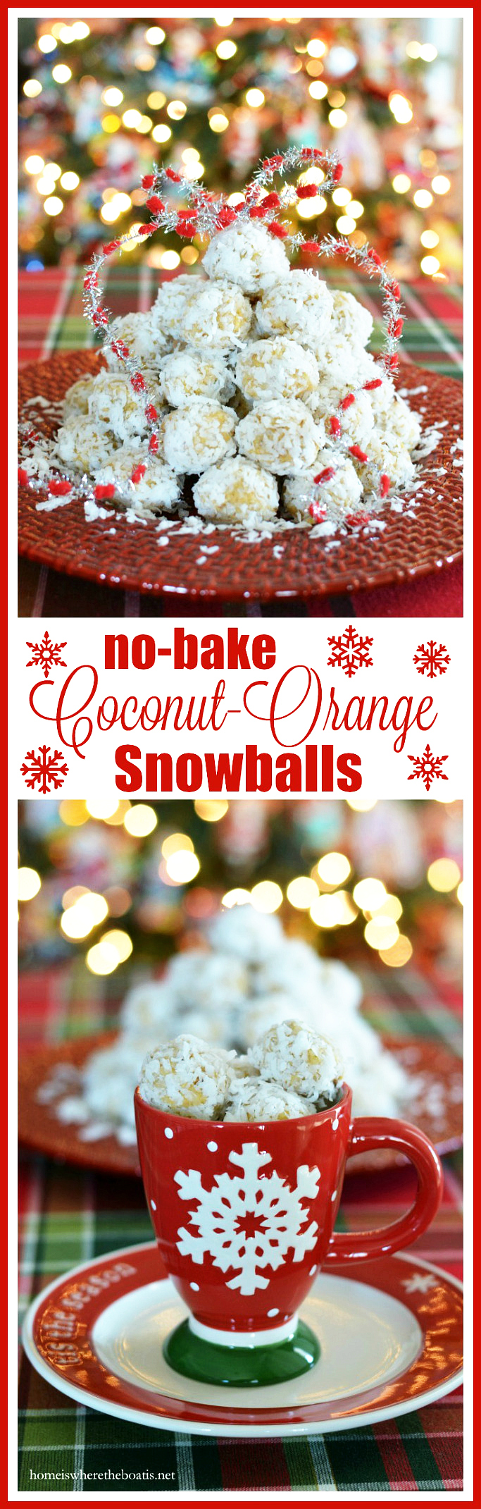 No-Bake Coconut Orange Snowballs! An easy no bake treat! | homeiswheretheboatis.net #Christmas #cookies #nobake #recipes