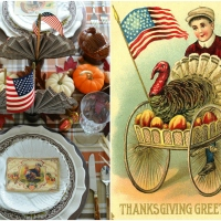 At the Table: Thanksgiving Greetings and Flags for an American Thanksgiving