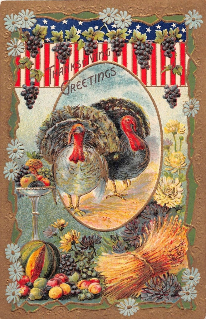 At The Table Thanksgiving Greetings And Flags For An