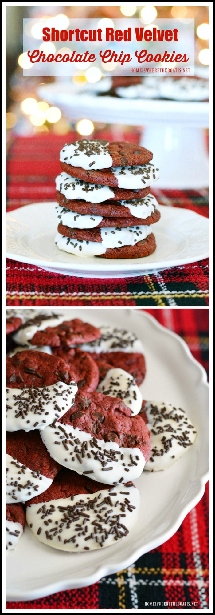 Red Velvet Chocolate Chip Cookies! An easy Christmas cookie recipe that uses a short cut! #Christmas #cookies