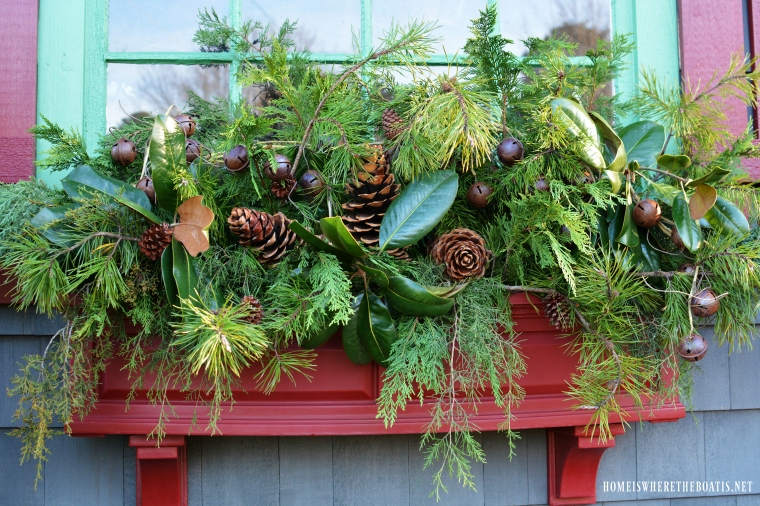 Christmas Greenery.Potting Shed Filling Window Boxes With Christmas Greenery