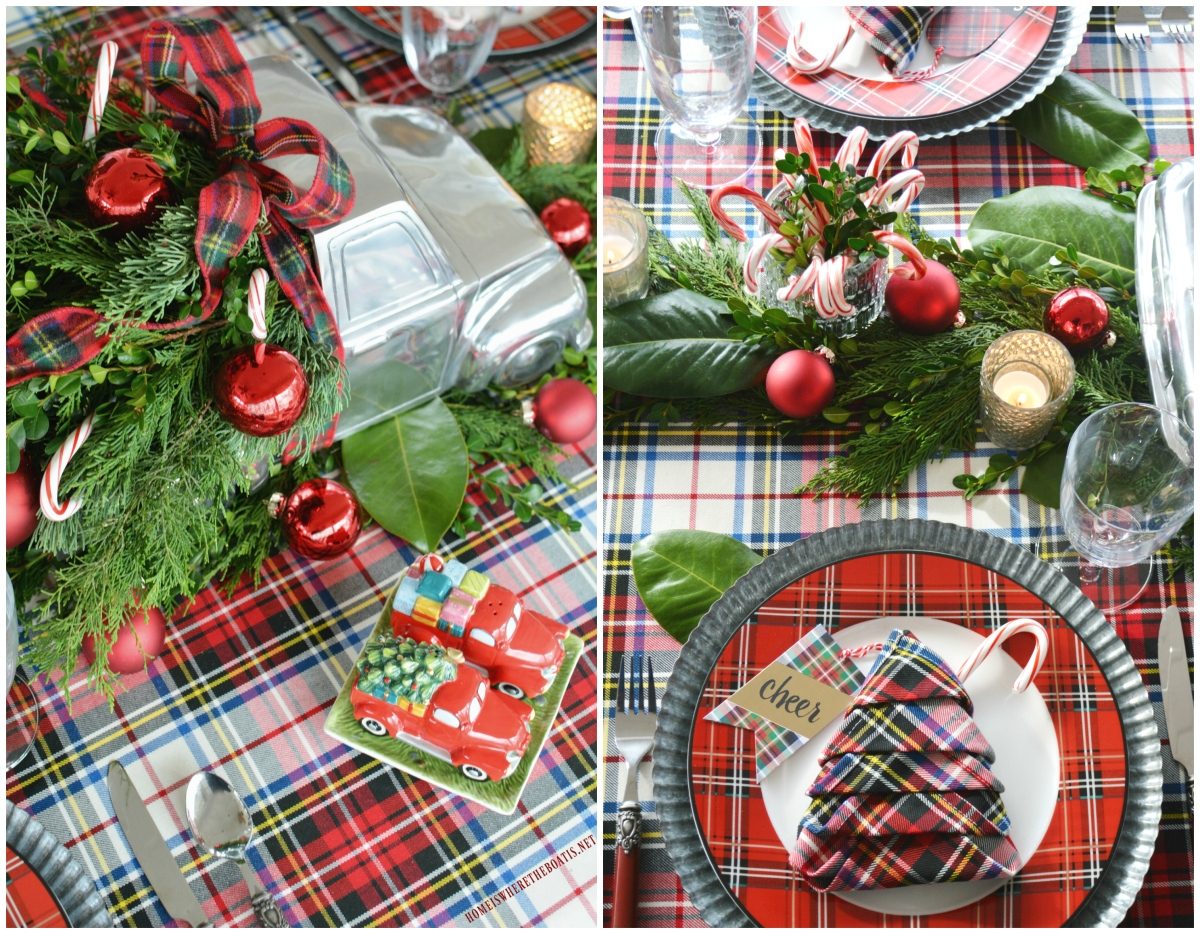 Christmas on Wheels and Tartan Tree Napkin Fold