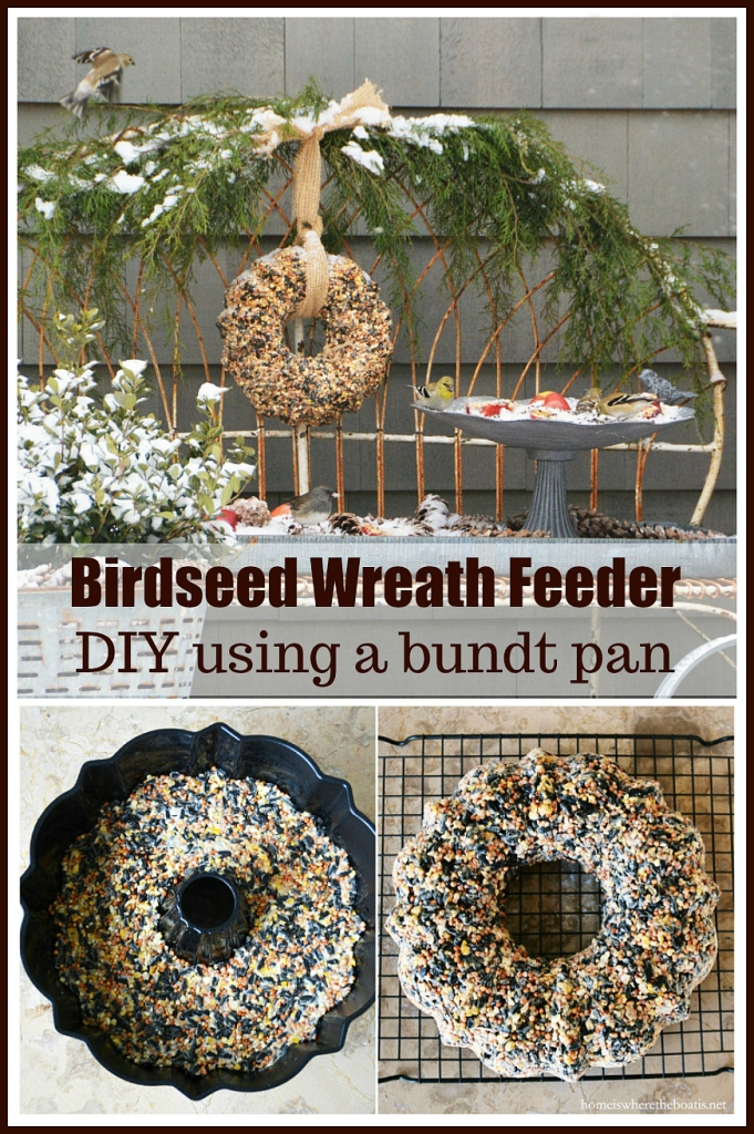Birdseed Wreath Feeder DIY using a Bundt pan | ©homeiswheretheboatis.net #birds #DIY #bundt #wreath