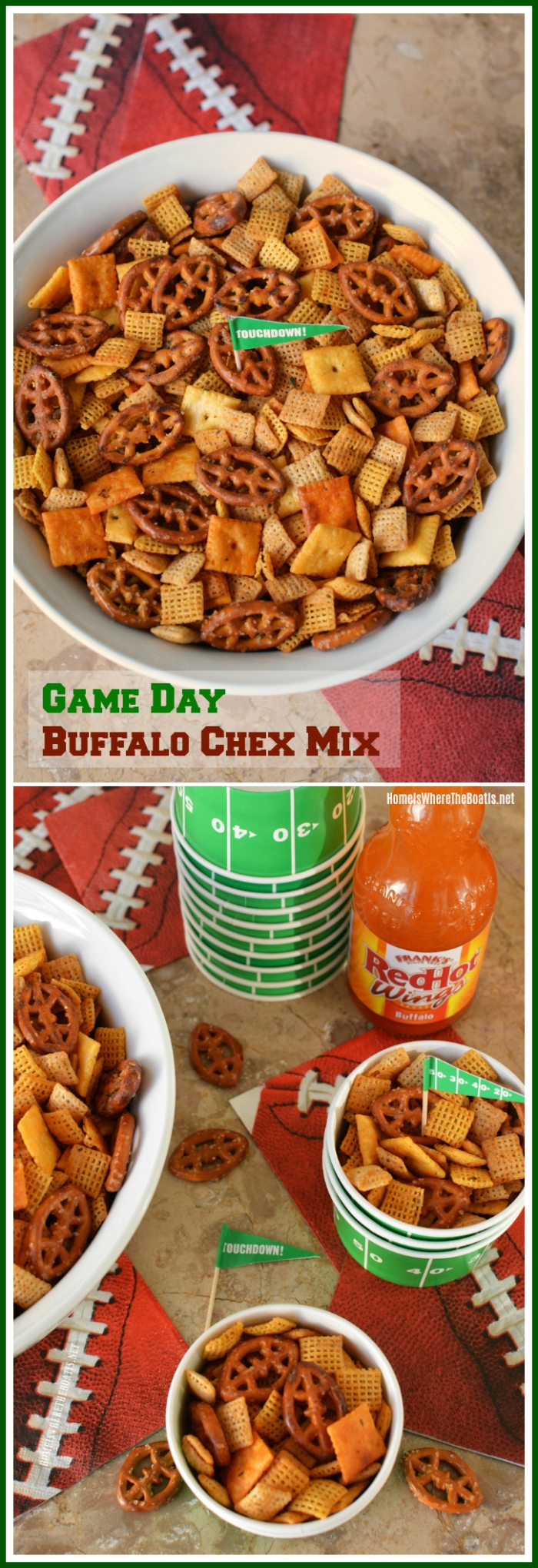 Game Day Buffalo Chex Mix! Easy party recipe for your line up of game day food! | homeiswheretheboatis.net #easyrecipe #footballfood #superbowlparty #tailgate #buffalo