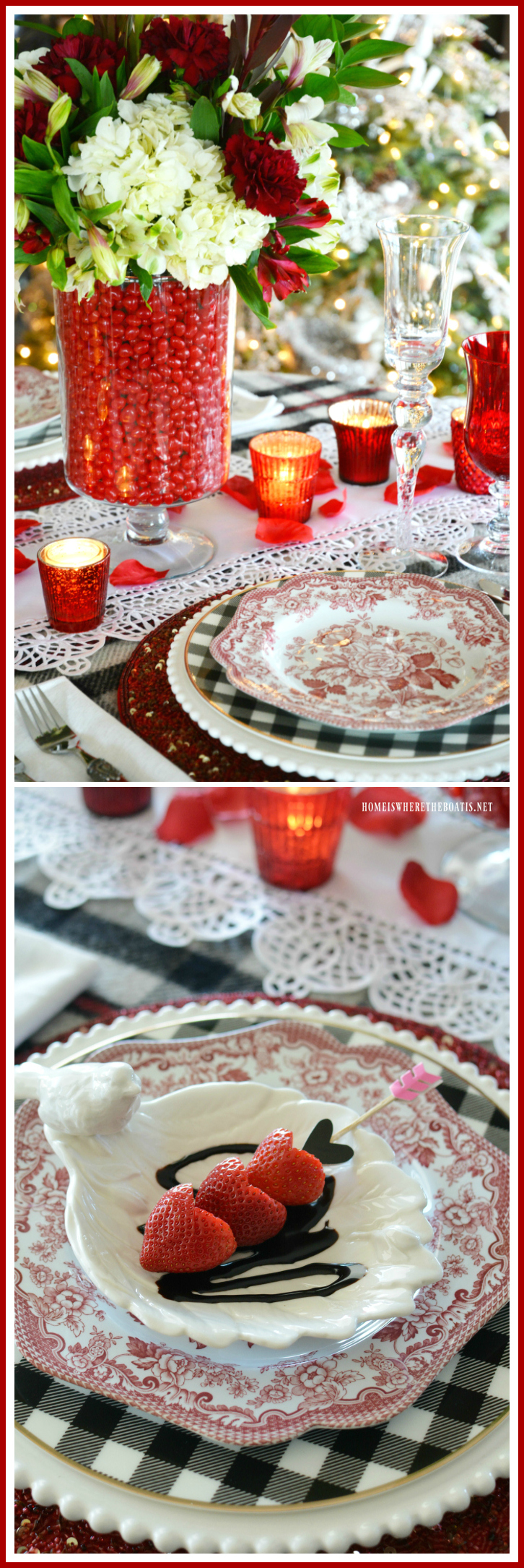 Floral candy vase centerpiece for Valentine's Day table and strawberry hearts with chocolate | homeiswheretheboatis.net #ValentinesDay #tablescape #floral