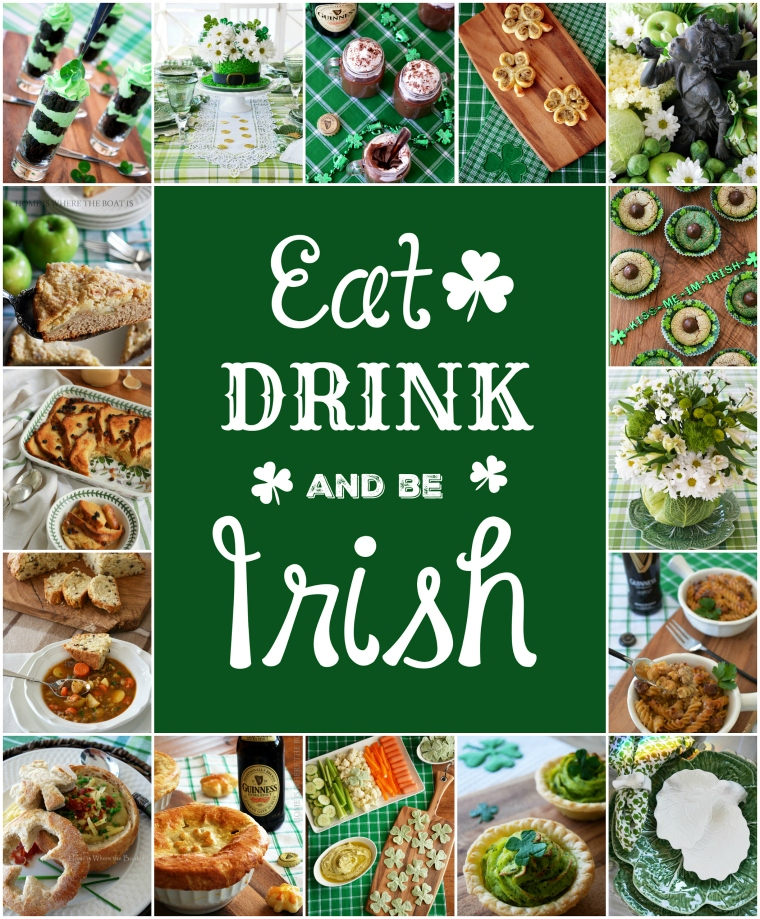 Eat, Drink and Be Irish! St. Patrick's Day round up of recipes and table inspiration! | ©homeiswheretheboatis.net #recipes #StPatricksDay #Irish #dessert #tablescape #tablesetting #appetizer