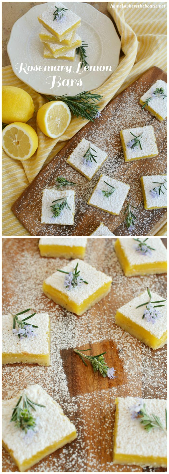 A Match Made in Heaven: Rosemary Lemon Bars | ©homeiswheretheboatis.net #lemon #dessert #bars #recipes