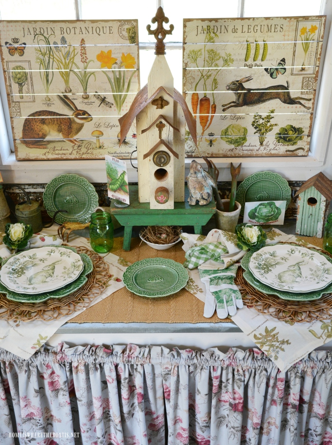 Bunny Garden Table in the Potting Shed | ©homeiswheretheboatis.net #spring #tablescapes #garden #bunny