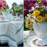 Floral Friday: Teapot Bouquets + Lakeside Table by the Azaleas