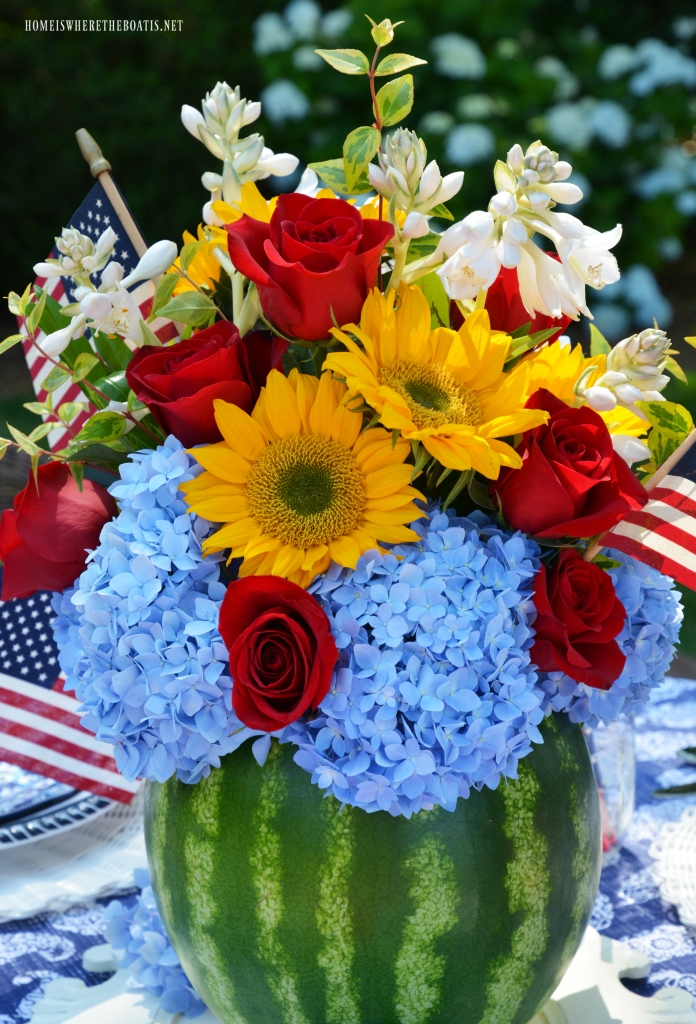 Floral Friday A Blooming Watermelon Vase And Patriotic Table