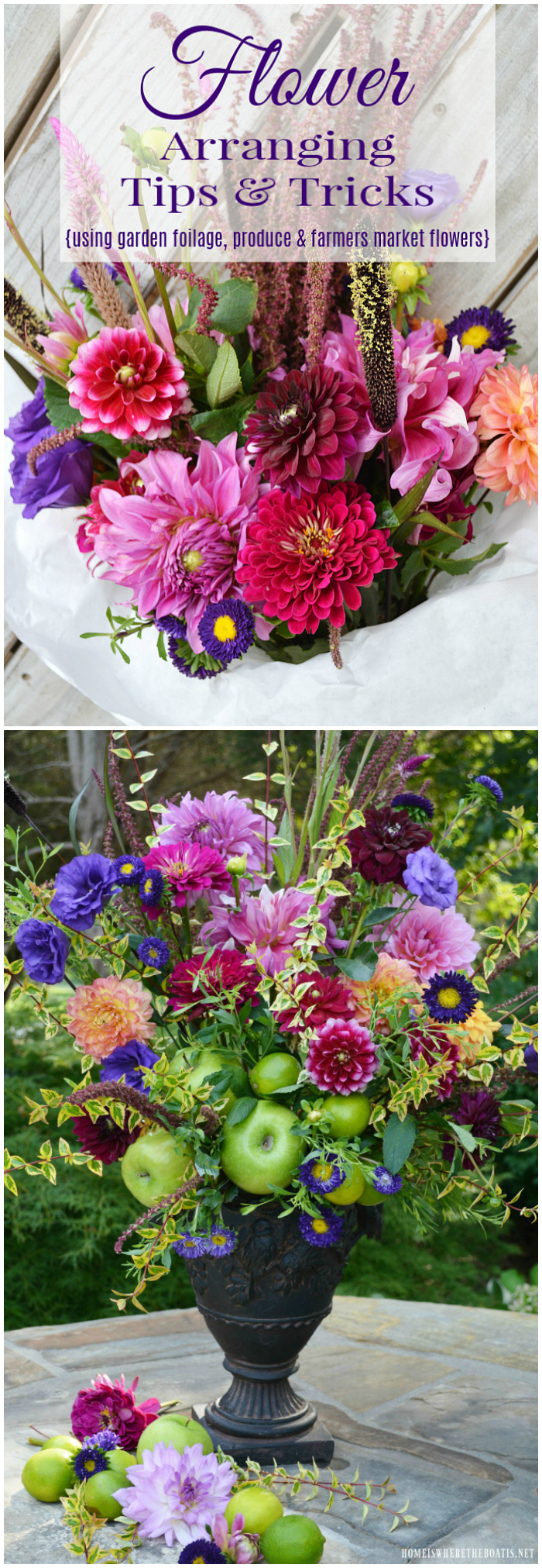 Create a flower arrangement from Farmer's Market flowers, fruit and foliage from your garden with these arranging tips and tricks! | ©homeiswheretheboatis.net #flowerarranging #diy #flowers
