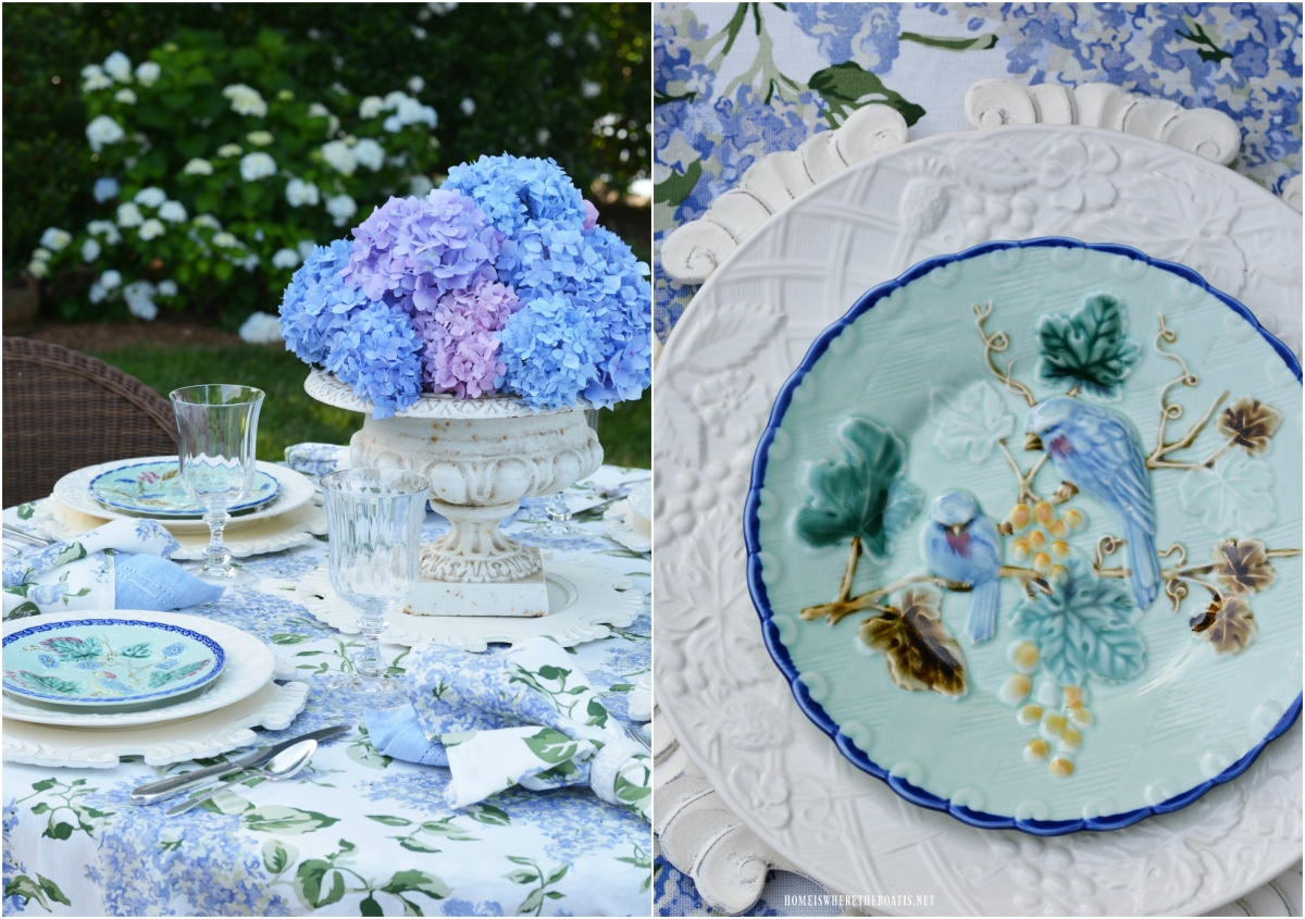 Majolica and Hydrangeas Alfresco Table