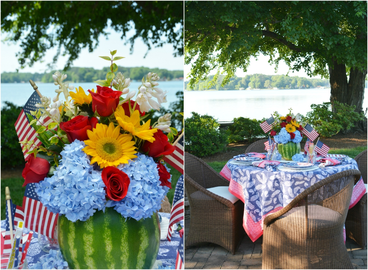 Floral Friday: A Blooming Watermelon Vase and Patriotic Table