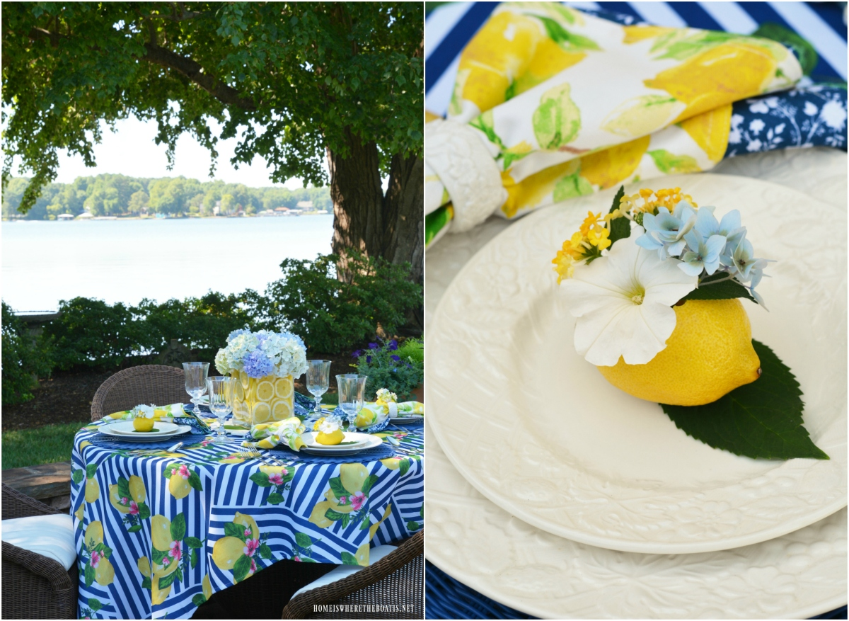 Lemons and Hydrangeas Alfresco Summer Tablescape