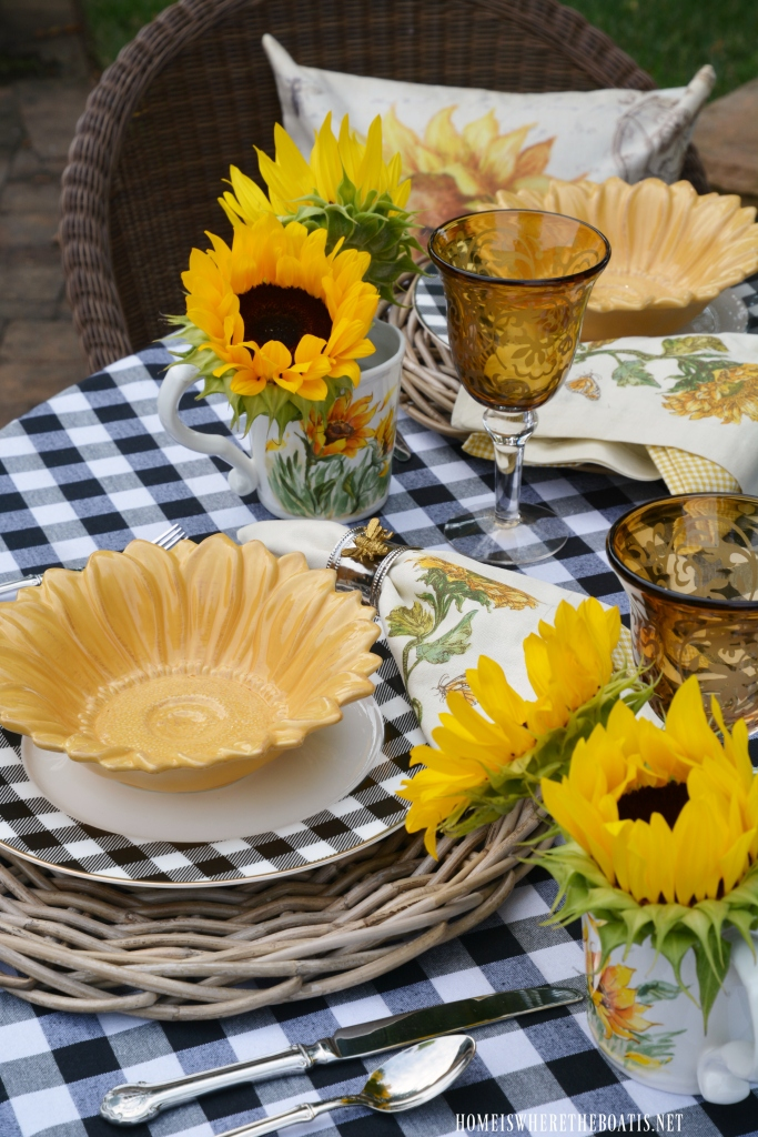 Lakeside Table With Sunflowers And Black And White Home