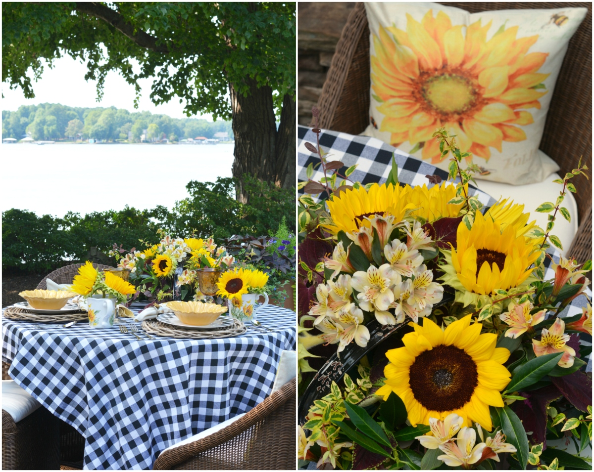 Lakeside Table with Sunflowers and Black and White