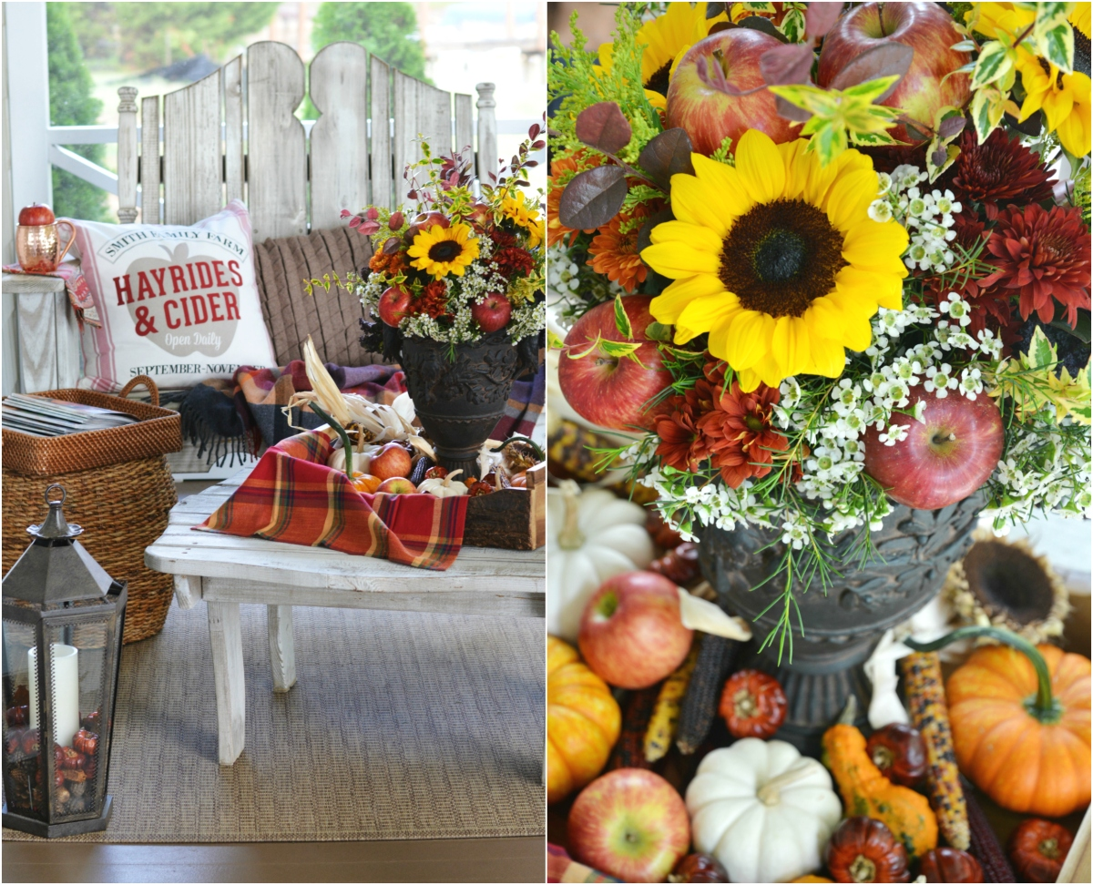 Floral Friday: Fall Apples and Sunflower Arrangement