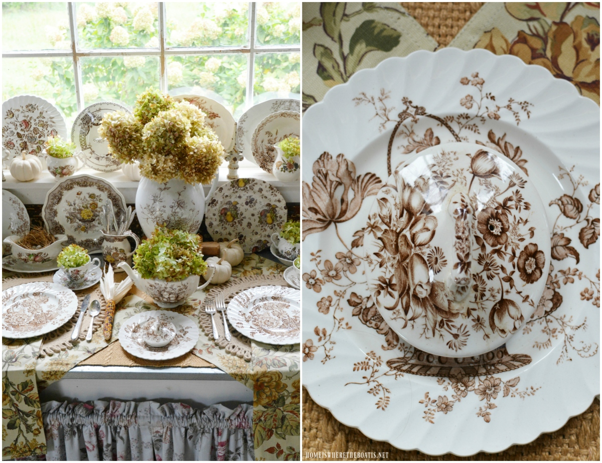 The Softer Notes of Fall: Transferware and Hydrangeas in the Potting Shed