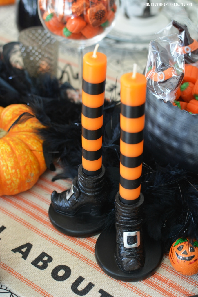 'Witch' Way To The Treats Halloween Tablescape | ©homeiswheretheboatis.net #Halloween #tablescapes #witch