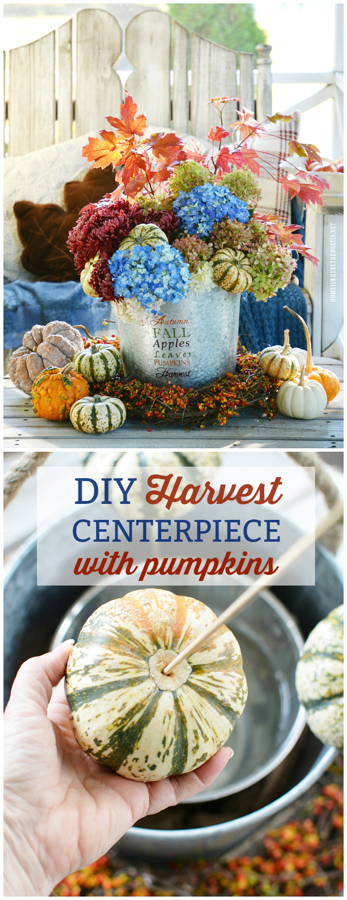 DIY Autumn Harvest Centerpiece in galvanized bucket with hydrangeas and tiger striped pumpkins, framed with a bittersweet vine wreath | ©homeiswheretheboatis.net #flowerarranging #fall #autumn #pumpkins #hydrangeas #DIY