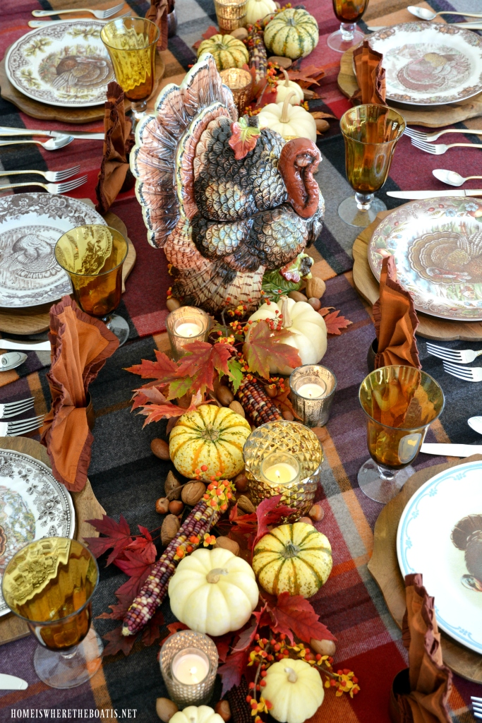 Thanksgiving table with assorted Tom Turkeys and turkey tureen centerpiece | ©homeiswheretheboatis.net #Thanksgiving #tablescapes #tablesettings #turkey